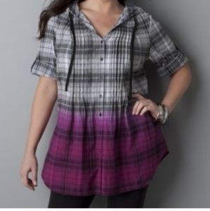 Lane Bryant Hooded Ombre Plaid Tunic Button Down